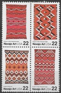 Scott 2235-2238 (1986) MNH Blk 4,Folk Art-Navajo, 22cents, SCV 5.50