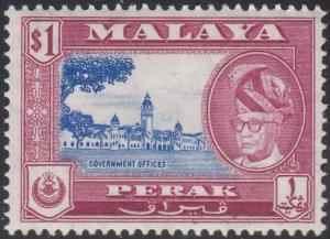 Malaya Perak 1957-61 MH Sc #135 $1 Government offices, Sultan Yussuf Izuddin ...