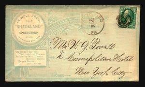 US 1882 Powell Bros Full Cacheted Envelope Used - Z18672