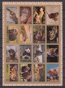 Ajman, Mi cat. 2829-2844 B. Wild Animals, IMPERF sheet of 16. ^