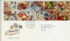 GB 1992 GREETING 'MEMORIES'. BOOKLET PANE  FDC
