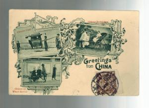 1900s China Real Picture Postcard Cover Chinese Richshaw Sedan Chair Wheelbarrow