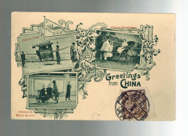 1900s China Real Picture Postcard Cover Chinese Richshaw Sedan Chair Wheelbarrow