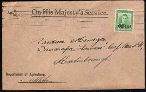 NEW ZEALAND 1946 OHMS cover GVI 1d Official opt ex Masterton.........33532