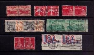 US Sc C35,C39,C55,C58,C64,C72,C75 Used Airmail (7 Pairs Total)Vert. Pairs F-VF