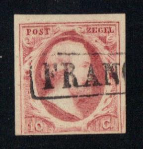 Netherlands 1852 used Willem III  10 ct   #  2 scans