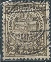 Luxembourg 76 (used, thin) 2c coat of arms, ol brn (1907)