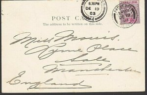 SIERRA LEONE 1903 postcard EVII 1d cancelled PAQUEBOT / PLYMOUTH cds........7638