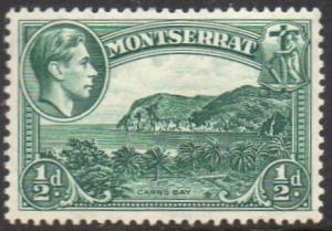 Montserrat 1938 ½d blue-green (P 13) MH