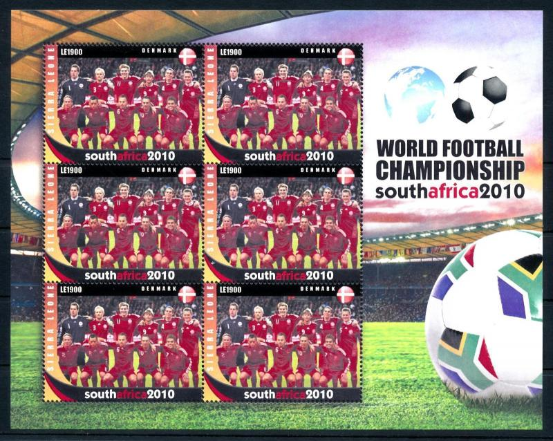 [95396] Sierra Leone 2010 World Cup Football South Africa Denmark Sheet MNH