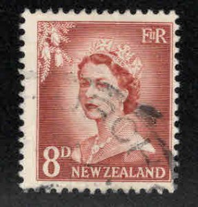 New Zealand Scott 313 Used QE2 stamp CV$5 oblique bend