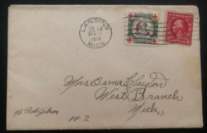 1913 Lansing MI USA Cover Christmas seal  #wx10 To West Branch