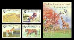 Uzbekistan usbekistan 2019 zoo birds animals fauna tigers snakes etc set+s/s MNH