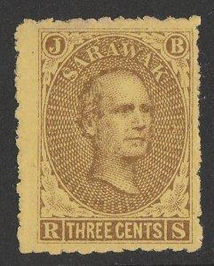 SARAWAK 1869 Brooke 3c brown on yellow (right pane, pos 75).