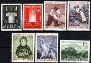 Austria #657-9, 662-5 MNH CV $4.85 (X2643)