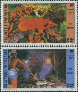 French Polynesia 1985 SG460-461 Tahitian Oven Pit set MNH