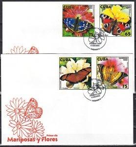 Cuba, Scott cat. 4333-4336. Butterflies & Flowers issue. First day covers. ^