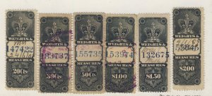4x Canada Revenue W&M Stamp; #FWM27-20c to FWM32-$2.00. Guide Value = $46.50