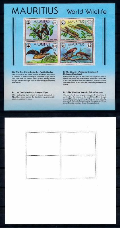 [54294] Mauritius 1978 WWF Sheet Butterfly Bat Birds Not impeccable! MNH
