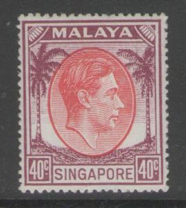 SINGAPORE SG26 1951 40c RED & PURPLE p17½x18 MTD MINT