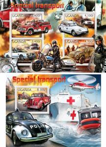 Special Transport Vehicles Cars Motorcycles Helicopters Uganda MNH stamp set