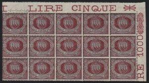 1894 San Marino, N° 22 5 Lire Carminio Su Verde Block Di 15