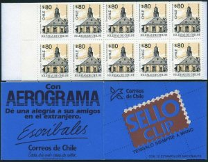 Chile 1058a booklet,MNH.Mi 1564 D/D MH. Churches 1993.Quinchao.