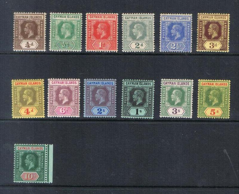 Cayman Islands 1912 KGV SG 40-52b set of 13 MH