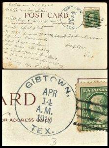 1910 TEXAS DPO 1883-1927 GIBTOWN TEXAS On Postcard Jack County