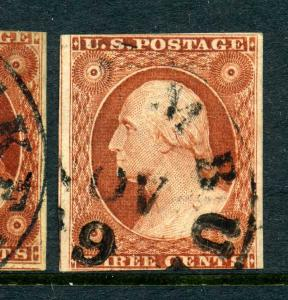 Scott #10A Washington Imperf Used Stamp Position  13R5E (Stock #10-240)