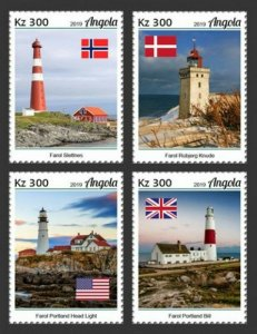 Angola - 2019 Lighthouses & Country Flags - Set of 4 Stamps - ANG190106a