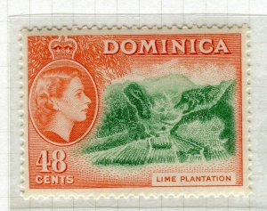 DOMINICA; 1954 early QEII issue fine Mint hinged 48c. value