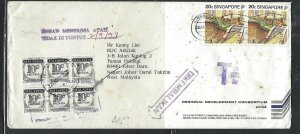 MALAYSIA COVER (P0811B) 1992 INCOMING COVER FROM SINGAPORE POSTAGE DUE 10C BL 6