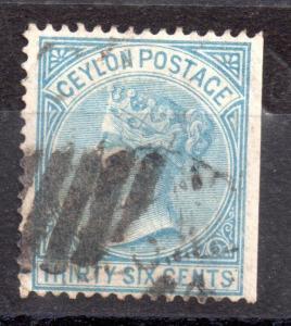 Ceylon QV 1872-80 36c blue SG129 fine used WS3244