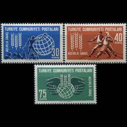 TURKEY 1963 - Scott# 1564-6 FAO-Starving People Set of 3 NH