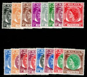 MALAYSIA - Penang SG28-43, COMPLETE SET, NH MINT. Cat £70.