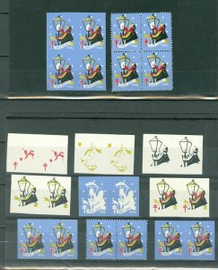 CINDERELLAS CHRISTMAS US 1946 IMPERFS & COLOR TRIALS...MNH