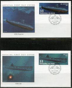 MARSHALL ISLANDS 2000 SUBMARINES SET ON FOUR FIRST DAY COVERS
