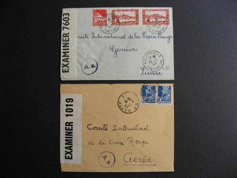 Algeria 2 WWII 1943 censored covers
