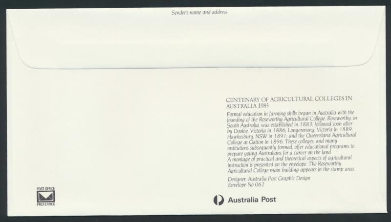 Australia PrePaid Envelope 1983 Centenary of Agricultural Colleges