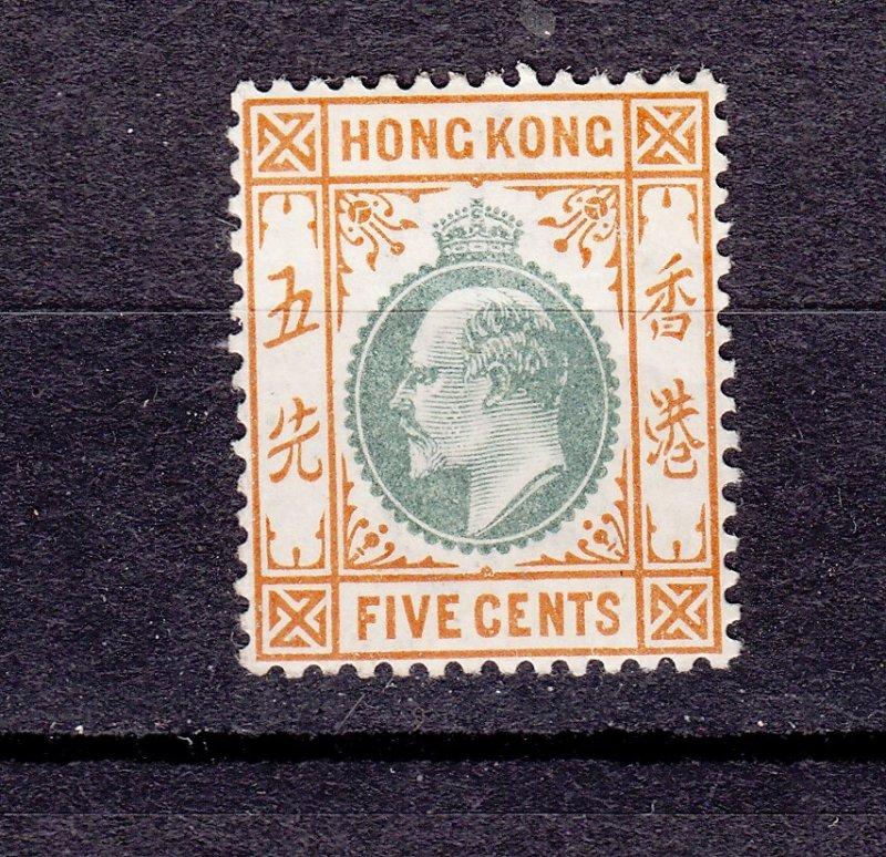 J28273 1903 hong kong mh #74 king wmk 2