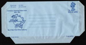 Isle of Man - Folded Unused Airletter UPU Centenary 1974