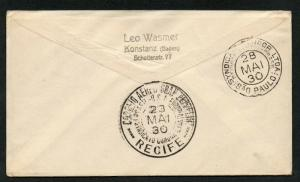 1930 German Graf Zeppelin Cover to Brazil Scott #C39 Airmail RARE Backstamped
