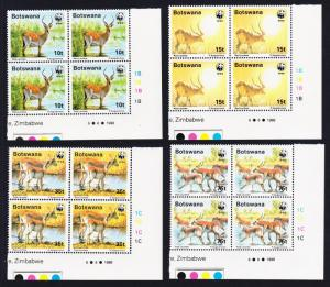 Botswana WWF Red Lechwe 4v Corner Blocks of 4 SG#648-651 MI#431-434 SC#432-435