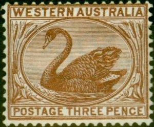 Western Australia 1895 3d Red-Brown SG87 Fine Very Lightly Mtd Mint