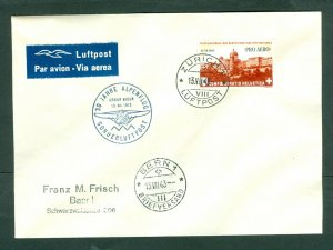 Switzerland. 1943 Cover. A/M. Special Cancel. 30 Year Alpen Flight.Sc# C 36. Adr