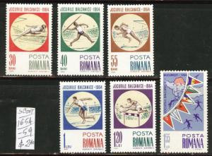ROMANIA Scott 1654-59 Balkan Games set  1964