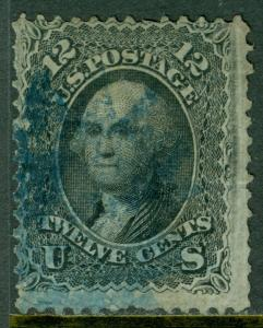 USA : 1868. Scott #97 F grill. Used. Blue cancel. Reperfed at right. Cat $260.