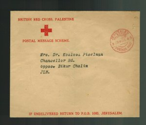 1943 Jerusalem Palestine  Stampless cover British Red Cross Envelope Postpaid