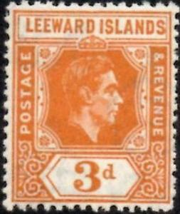 Leeward Islands 1938 KGVI  3d Orange  SG.107  Mint (Lightly Hinged)